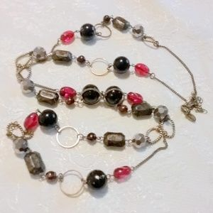 Lia Sophia Black Red Long Beaded Chain Necklace